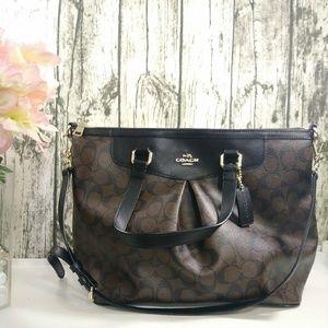 Coach Signature pleated brown/black tote purse